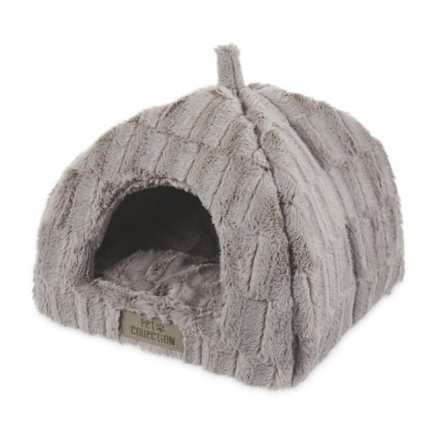 Grey Plush Cat Igloo Bed offer at £9.99