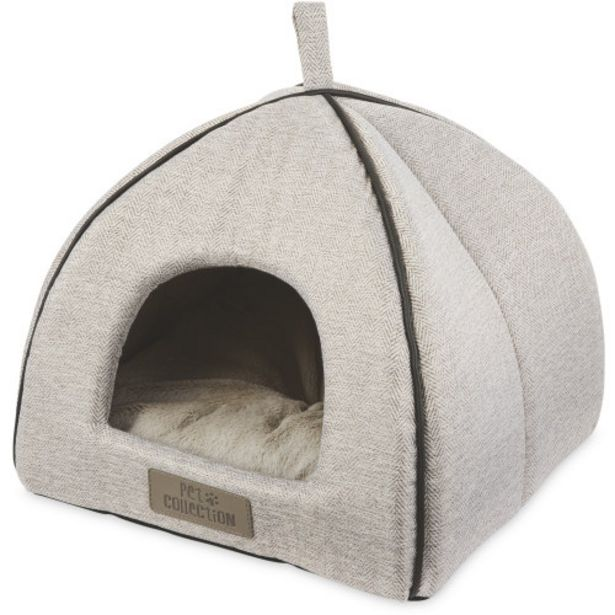 Grey Herringbone Cat Igloo Bed offer at £9.99