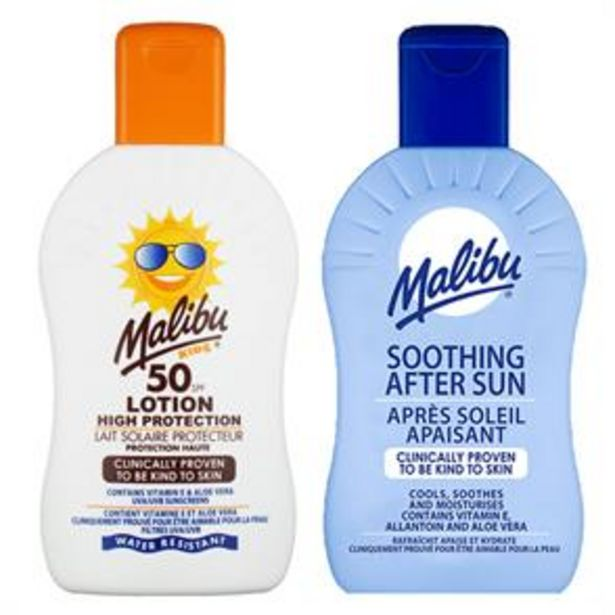 Malibu: Sun Lotion 200ml - SPF 50+ & Soothing After Sun 200ml offer at £3.99