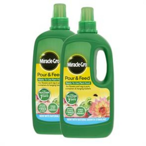 Miracle-Gro Pour & Feed Ready To Use Plant Food (2 x 1 Litre) offer at £5.98