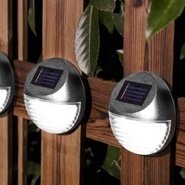 Firefly: 4 LED Solar Fence Lights - Silver offer at £5.96