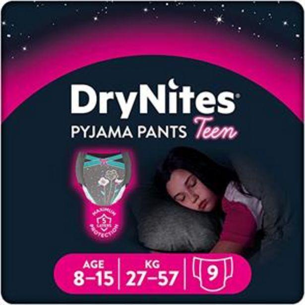 DryNites Pyjama Pants Teen Flower Design: 8-15 Years (3 x 9 Pack) offer at £11.37