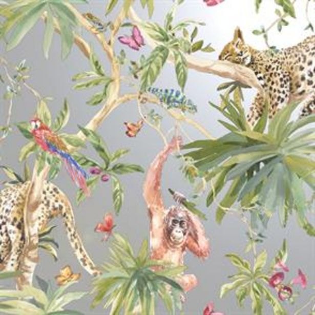 Jungle Animals Silver Wallpaper offer at £11.99