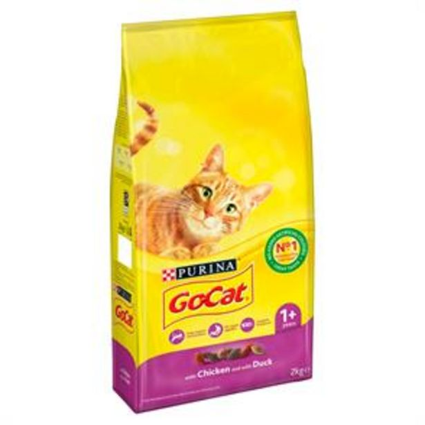 GO-CAT with Chicken and Duck Dry Cat Food (4 x 2kg Bag) offer at £15.96
