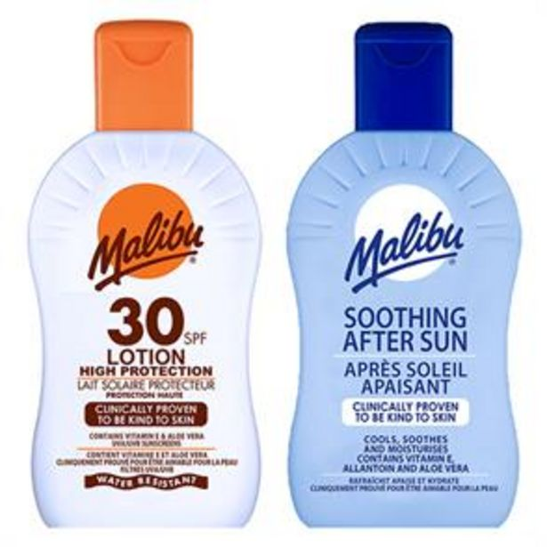 Malibu: Sun Lotion 200ml - SPF 30 & Soothing After Sun 200ml offer at £3.69