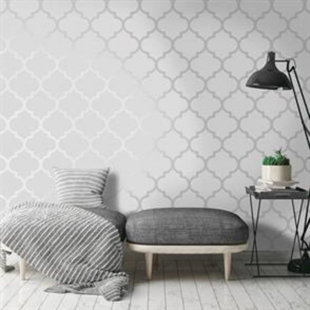 K2 Feature Wallpapers: Silver Metallic Latice offer at £7.99