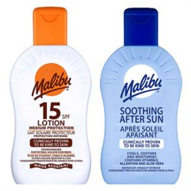 Malibu: Sun Lotion 200ml - SPF 15 & Soothing After Sun 200ml offer at £3.29