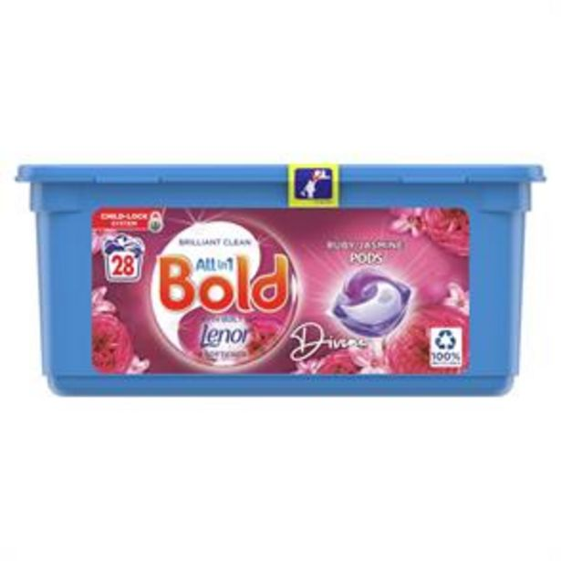 Bold All-in-1 Pods Washing Liquid Capsules Ruby Jasmine 28 Washes offer at £5.49