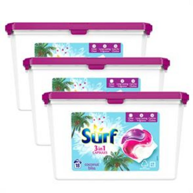 Surf: Coconut Bliss Washing Capsules (Case of 3 x 18 Wash 382g) offer at £8.97