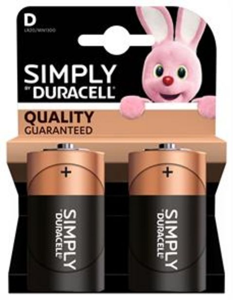 Duracell Simply D Batteries (2 Pack) offer at £1.99