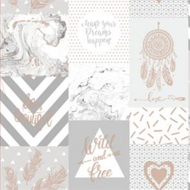 Life Is Beautiful Grey/Rose Gold Wallpaper offer at £11.99