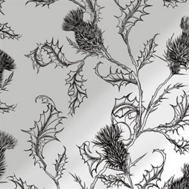 Thistle Silver/Charcoal Wallpaper offer at £11.99
