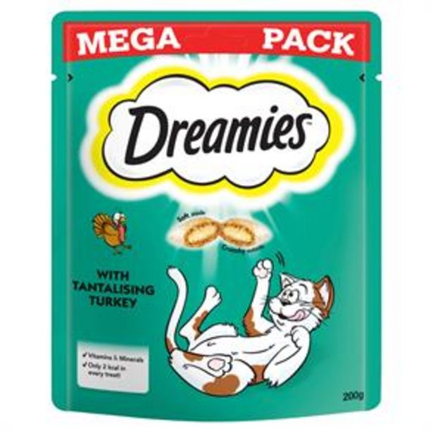 Dreamies Cat Treats Mega Pack with Turkey 200g (6x) offer at £16.5