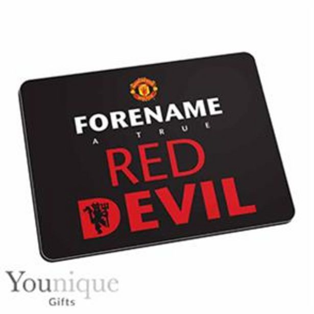 Personalised Man United Mouse Mat (Black) offer at £6.99