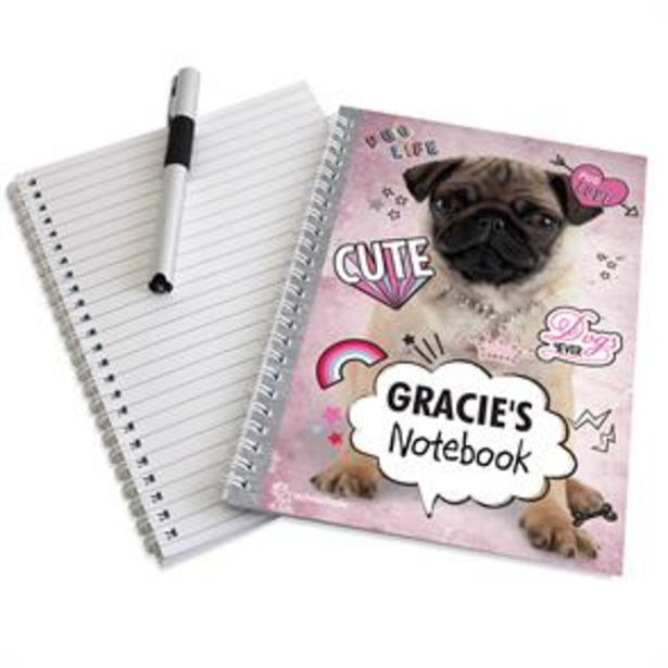 Personalised Rachael Hale Doodle Pug A5 Notebook offer at £4.99