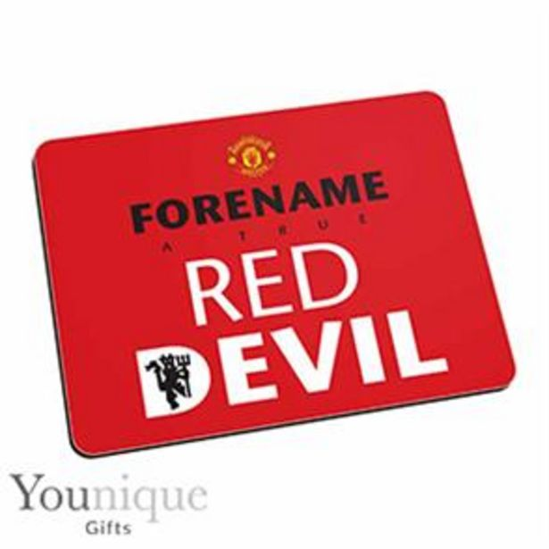 Personalised Man United Mouse Mat (Red) offer at £6.99