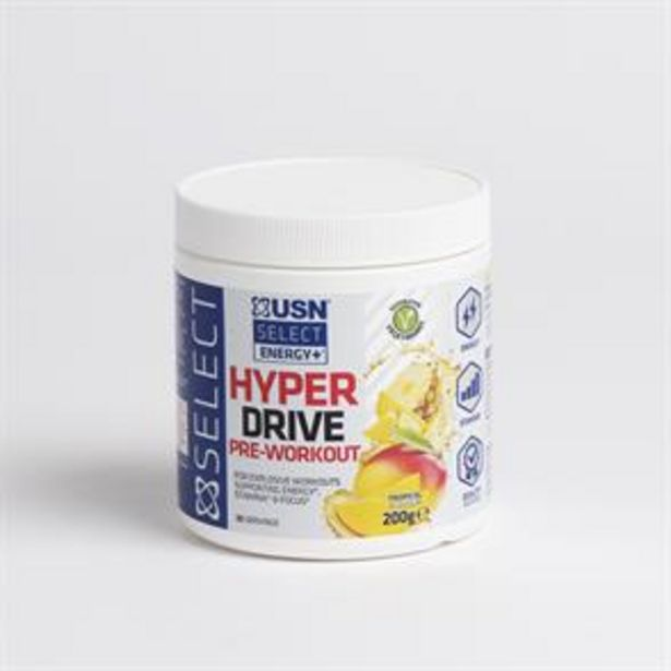 USN Select Energy+ Hyper Drive Pre-Workout 200g - Tropical offer at £12.99