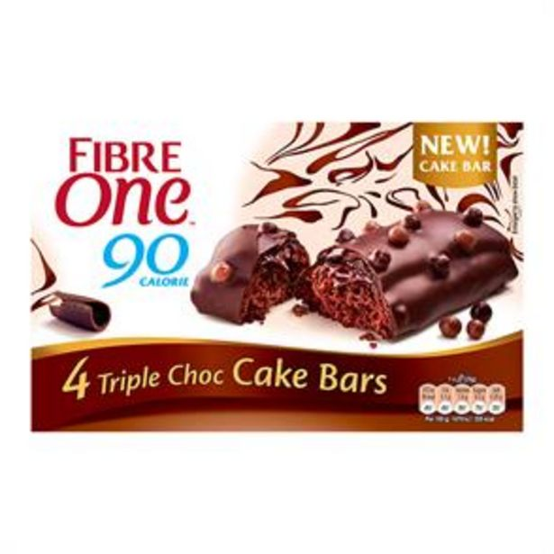 Fibre One 90 Calorie: 20 Triple Chocolate Cake Bars offer at £6.25