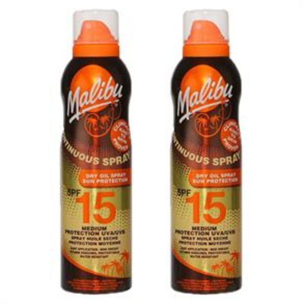 Malibu: Sun Protection Dry Oil Continuous Spray 175ml - SPF 15 (Case of 2) offer at £5.98