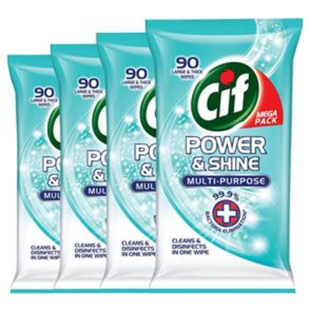 Cif Power & Shine Multi-Purpose Large & Thick Wipes (4 x 90 Pack) offer at £7.96