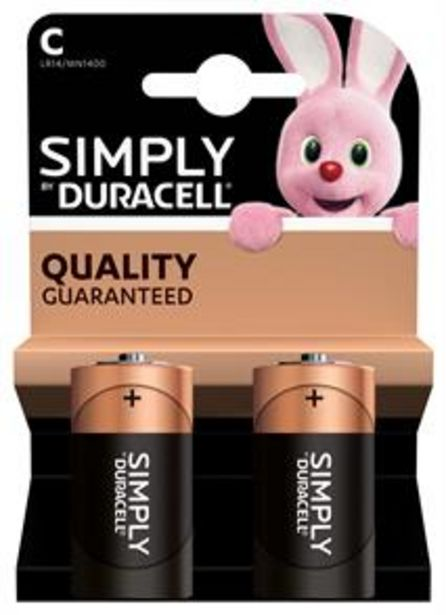 Duracell Simply C Batteries (2 Pack) offer at £1.99