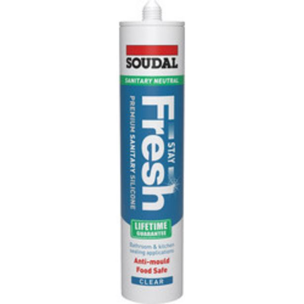 Soudal Stay Fresh Sanitary Silicone Sealant                    300ml Clear offer at £4.16