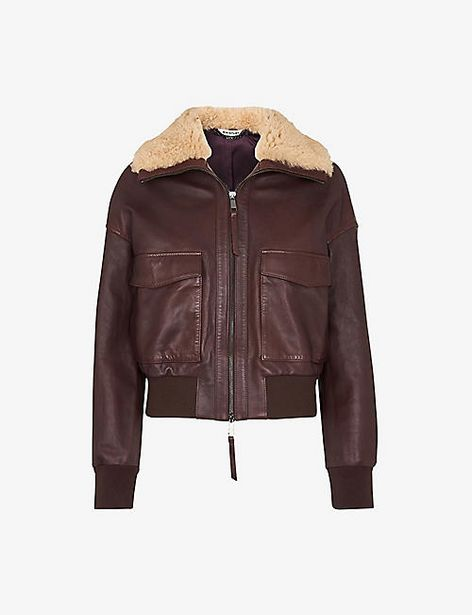 Shearling collar leather jacket offer at £279.2