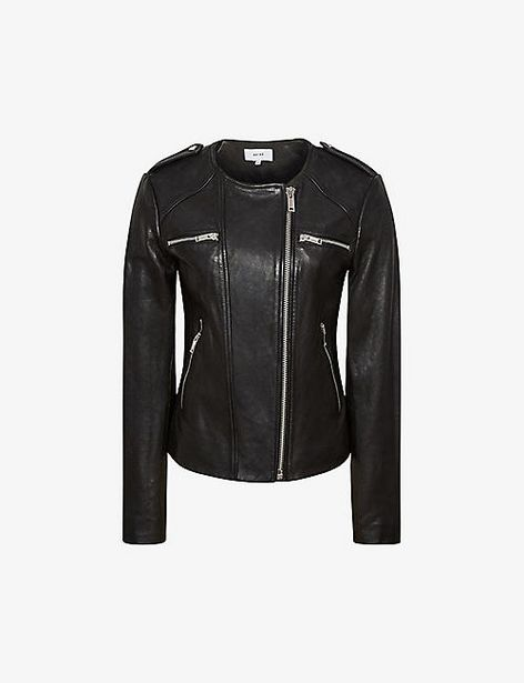 Ossie zipped leather biker jacket offer at £300