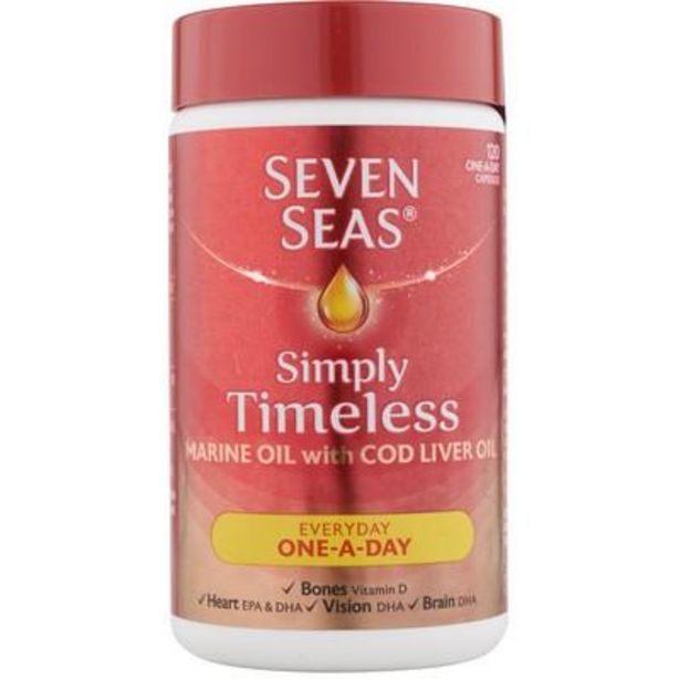 Seven Seas one a day pure cod liver oil 120 capsules offer at £6.59