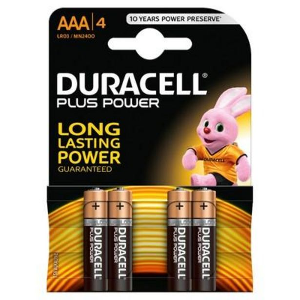Duracell plus power AAA batteries 4 pack offer at £3.79