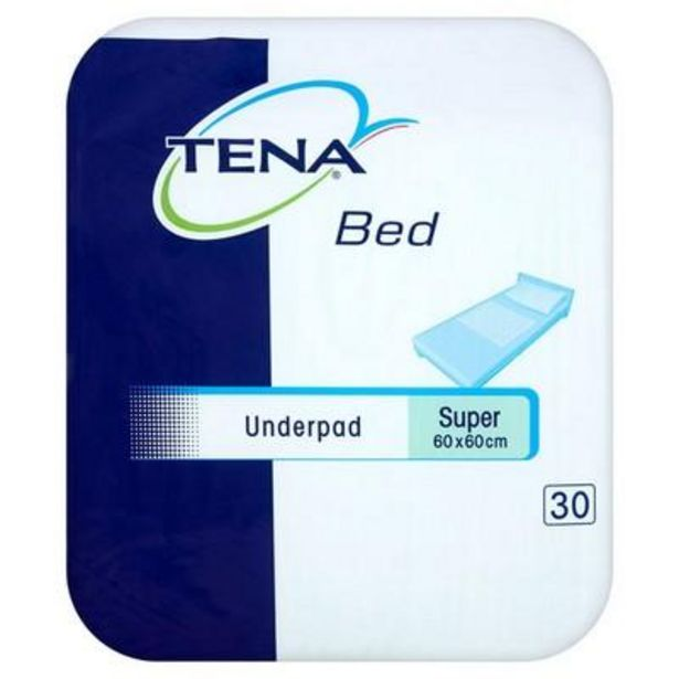TENA bed underpad super 60 x 60cm 30 Pack offer at £11.39