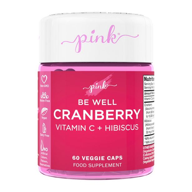 Pink be well cranberry vitamin C + Hibiscus 60 veggie capsules offer at £11.24
