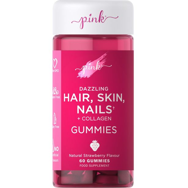 Pink dazzling hair, skin, nails + collagen gummies 60 gummies offer at £14.99
