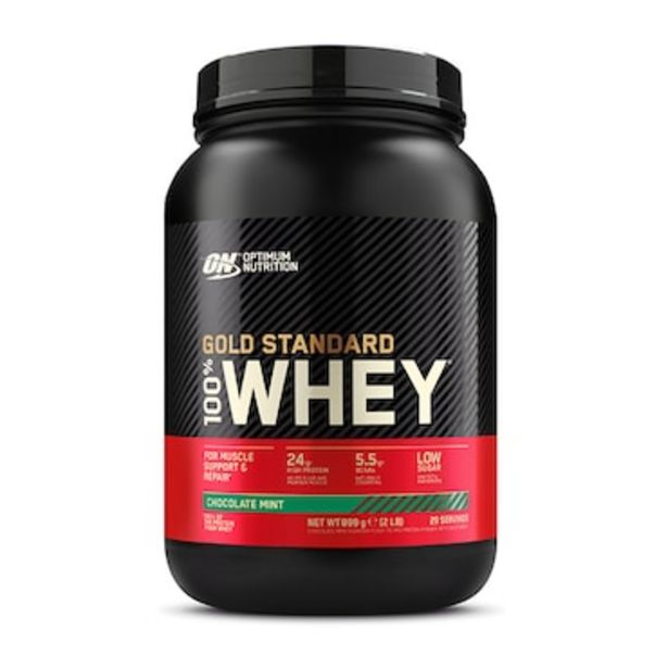 Optimum Nutrition Gold Standard 100% Whey Powder Chocolate Mint 908g offer at £24