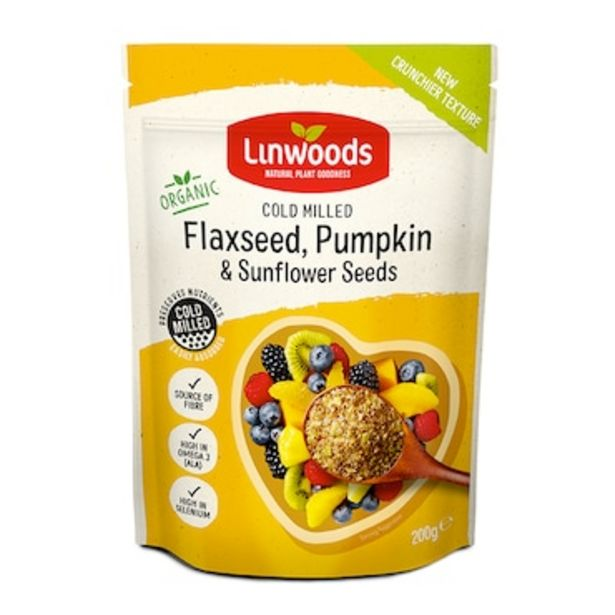 Linwoods Milled Organic Flaxseed, Sunflower & Pumpkin Seeds 200g offer at £2.49