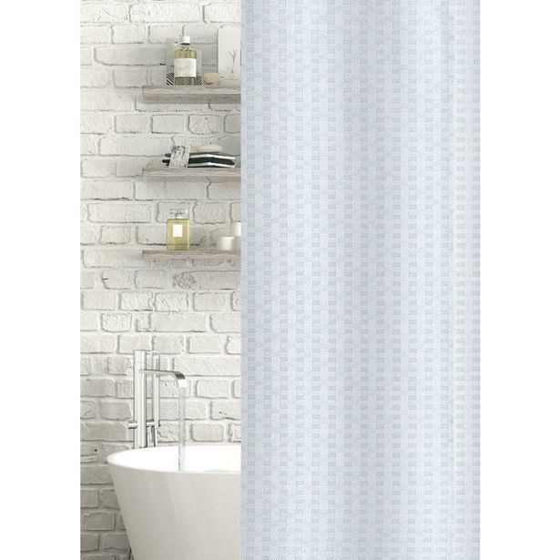 Geo Jacquard Polyester Shower Curtain White offer at £15