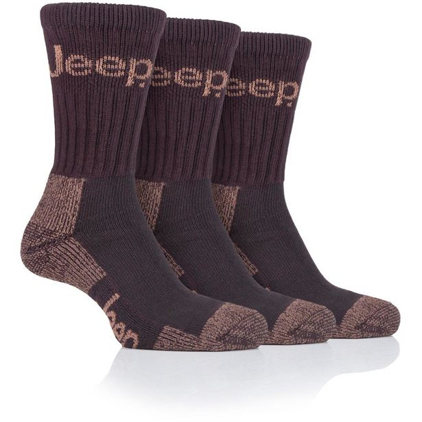 Jeep Mens 3pr Jeep Luxury Terrain Boot Socks - Brown Earth offer at £7.99