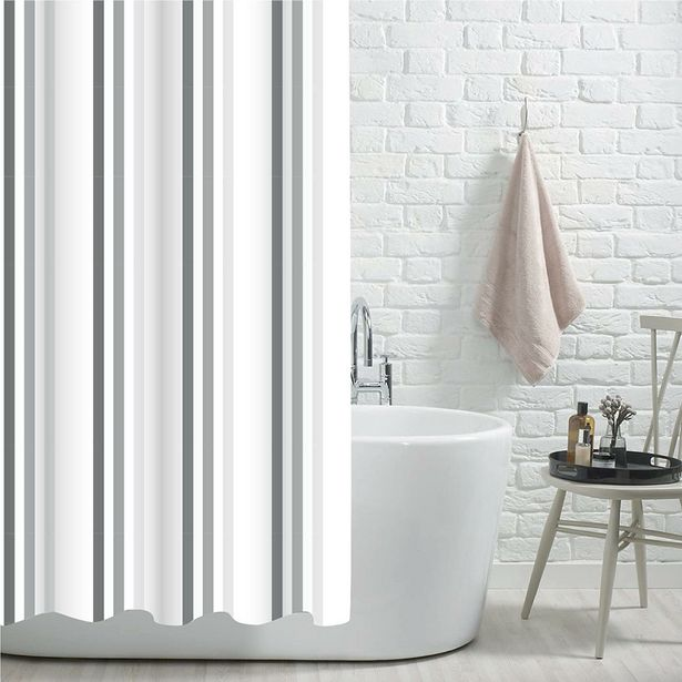 Brighton Rock Grey Printed Shower Curtain offer at £15