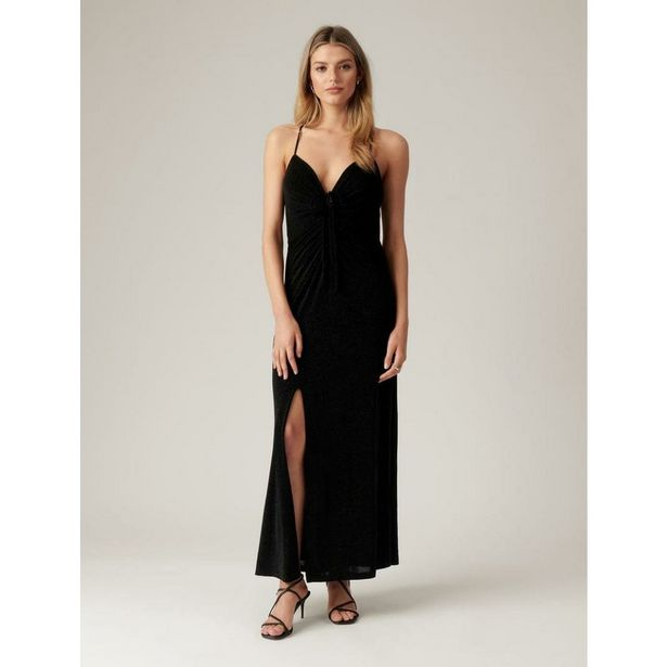 Forever New Keryn Ruched Glitter Maxi Dress - Black offer at £57