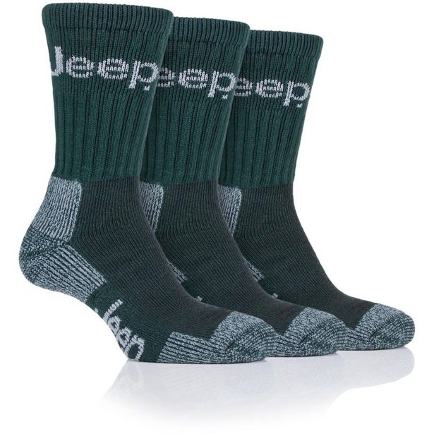 Jeep Mens 3pr Jeep Luxury Terrain Boot Socks - Forest Green offer at £7.99