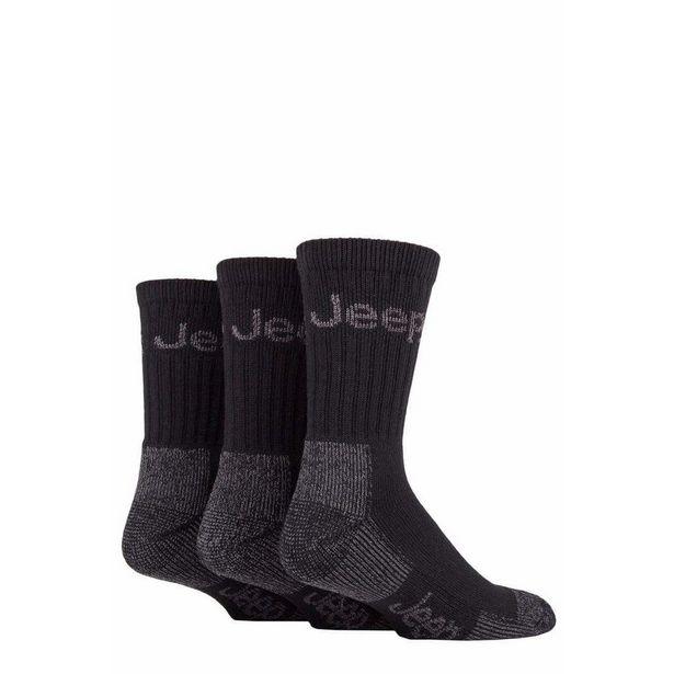 Mens 3pr Jeep Luxury Terrain Boot Socks - Black Grey, Size 6-11 offer at £8