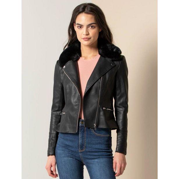 Forever New Essa PU Fur Collar Biker - Black offer at £39.99