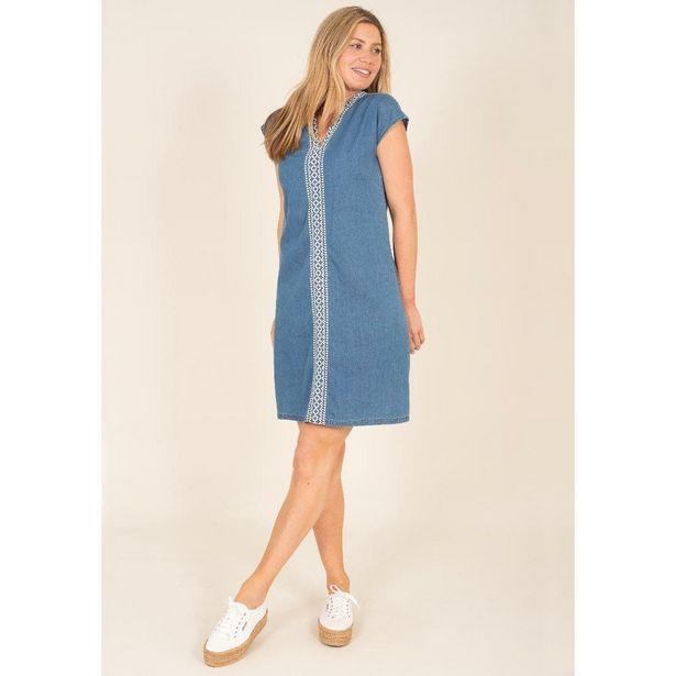 Brakeburn Embroidered Denim Dress - Blue offer at £34.99