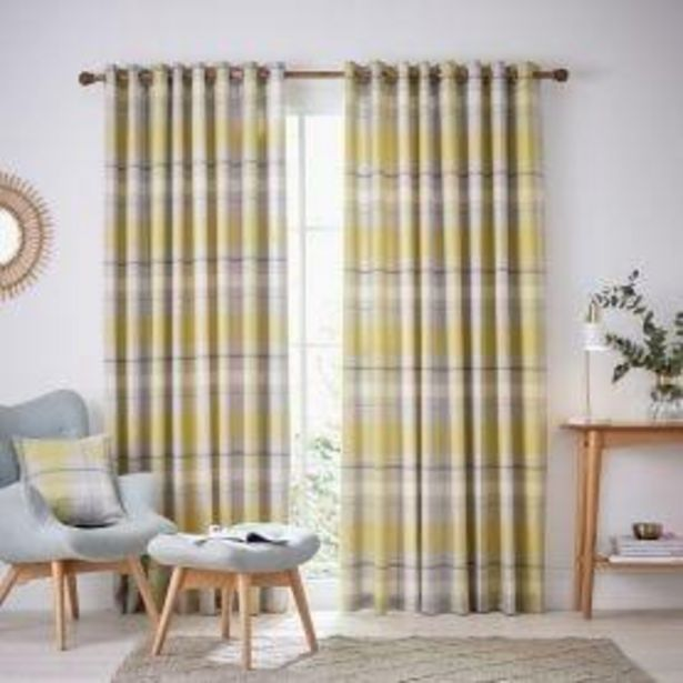 "Helena Springfield Nora Lined Curtains 66"" x 72"" - Chartreuse offer at £82.5"
