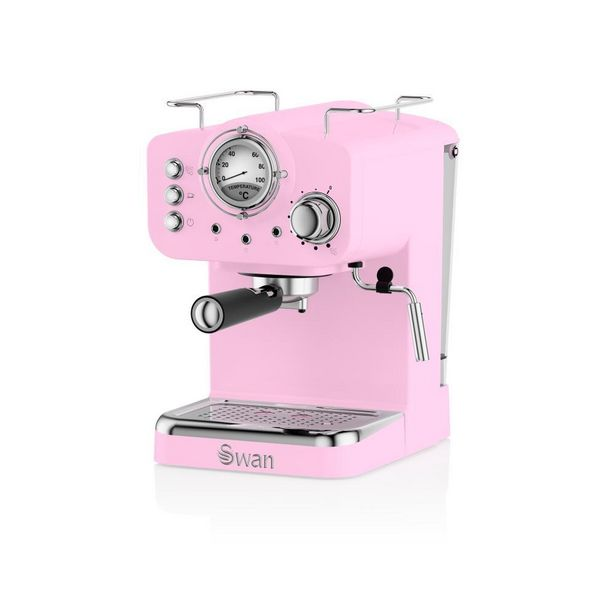 SK22110PN Swan Retro Espresso Coffee Machine Pink offer at £94.5