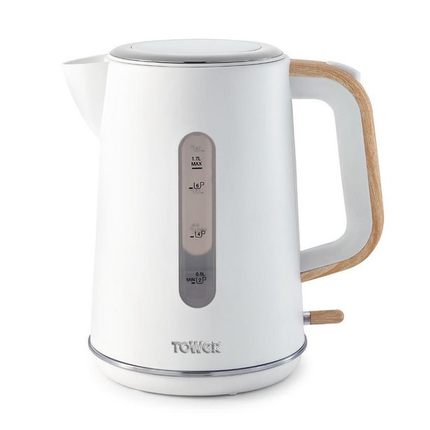 T10037 Tower Scandi 3KW 1.7L Rapid Boil Kettle White offer at £23.99