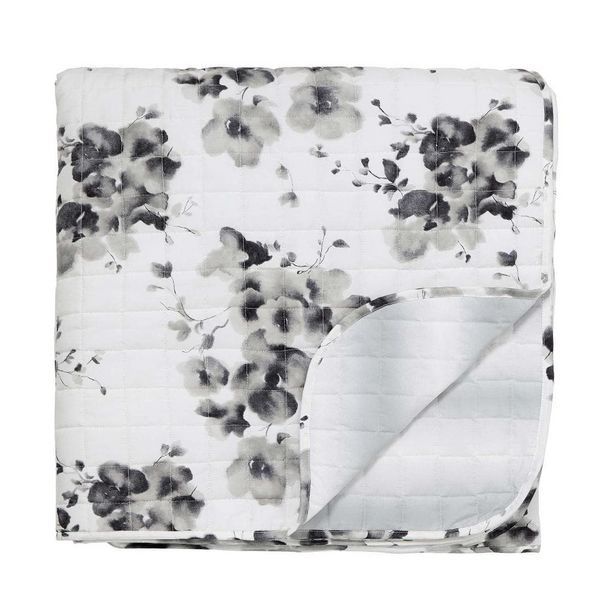 Sanderson Mandarin Flowers Quilted Throw, Grey offer at £120