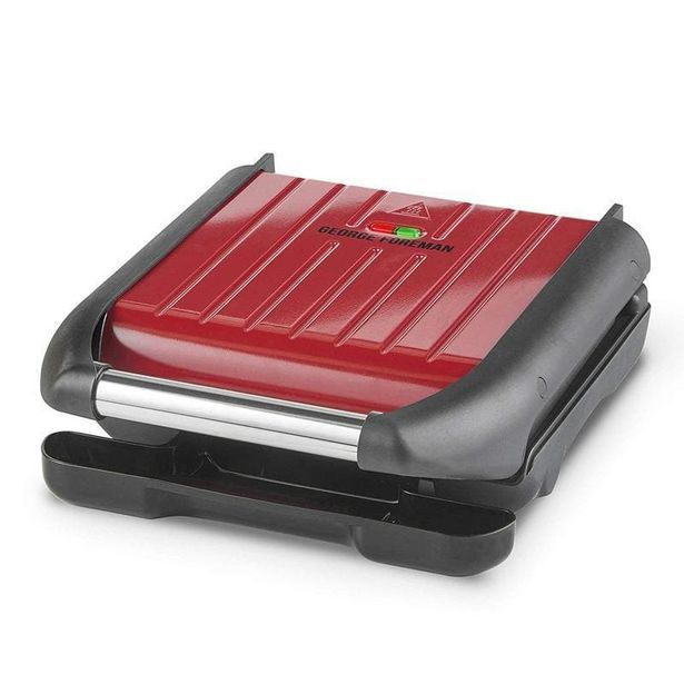 25030 George Foreman Steel Compact Grill Red offer at £29.99