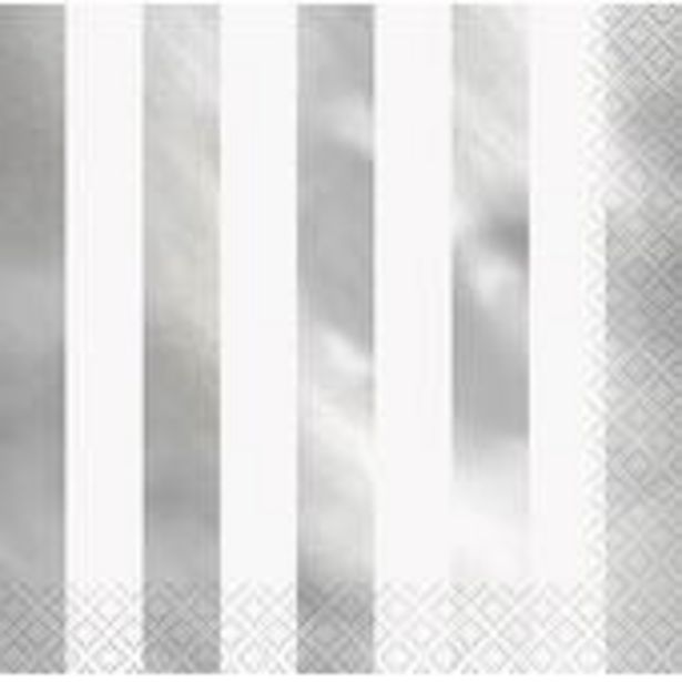 Silver Foil Stripe Napkins 16 Pack offer at £2