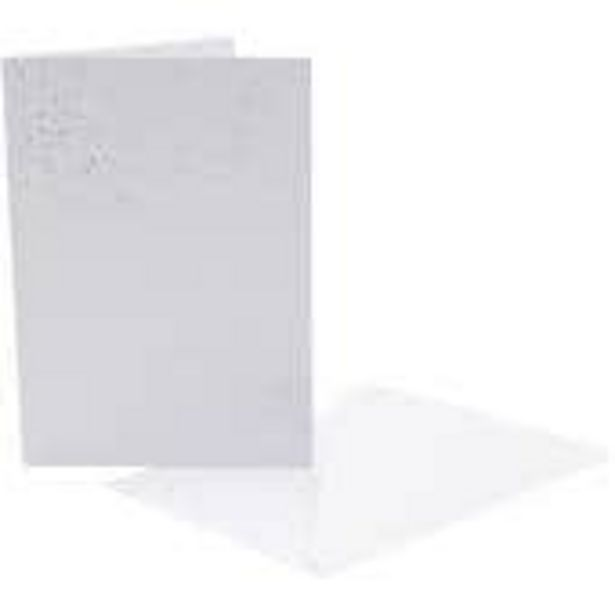 Silver Glitter Effect Cards and Envelopes 5 x 7 Inches 8 Pack offer at £1.5